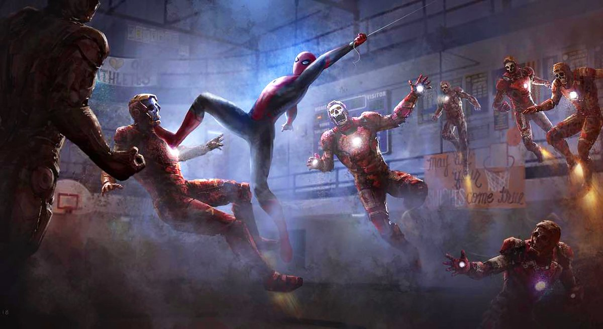 New #SpiderManFarFromHome concept art pieces show Spidey being tricked by Mysterio's illusions! (via @HenrikTamm)