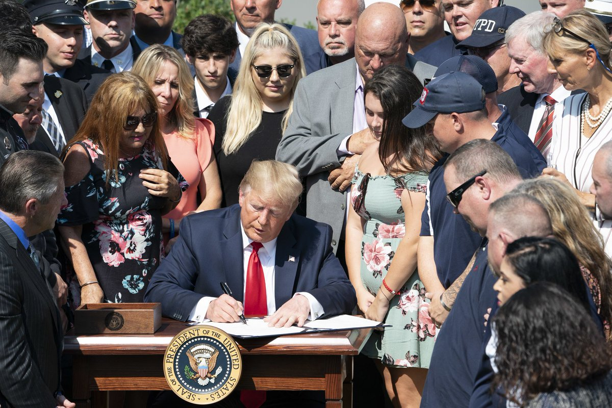 On July 29, President @realDonaldTrump permanently authorized the 9/11 Victims Compensation Fund—ensuring financial support for families who lost loved ones as a result of September 11th attacks. https://t.co/oy56YZMOJF