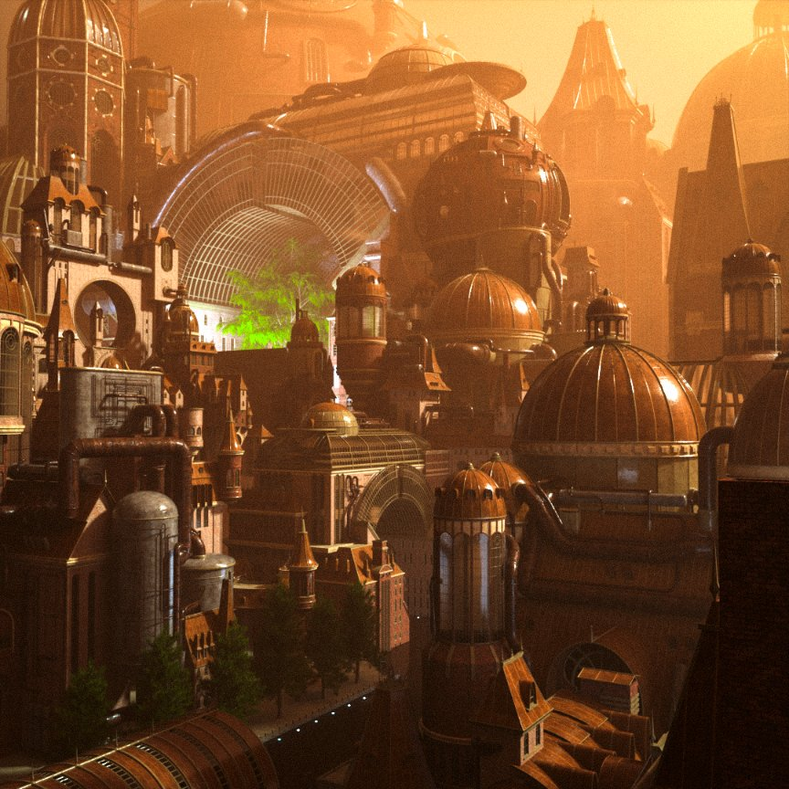 Completed a @kitbash3d scene!  i used #Cinema4D and #OctaneRender to render it.  #Steampunk #3D