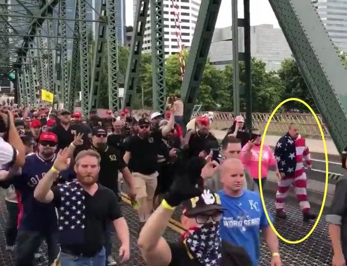#AlphaMale alert: A grown man hit the streets in #Portland today dressed in a flag romper. Thats the funniest damn flag disrespect of all time.
