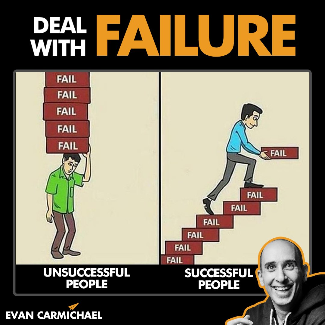 Which one are you? The person on the left or on the right? Tag a friend who doesnt know how to deal with failure so you can inspire them with this photo. #Believe #EvanCarmichael #entrepreneur #success #failureisnotanoption #findaway #reach #intelligence #wantit #bettereveryday