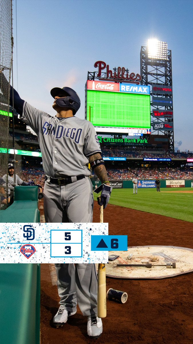 Top of the 6th in Philly and the @Padres have a 5-3 lead Due up: Naylor Machado Hosmer