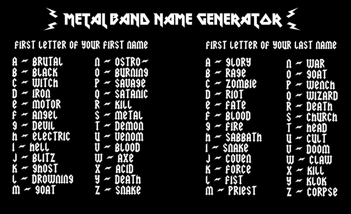 Name black generator metal Random Metal