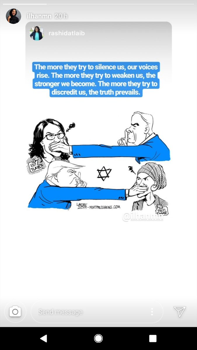Oof. Looks like both Rep. Omar and Rep. Tlaib shared this awful Carlos Latuff cartoon in Instagram stories yesterday. In 2006, Latuff came in second in Iran's International Holocaust Cartoon Contest, which is a thing that exists, in case you thought the TL couldn't get any worse. https://t.co/uwyBPAsz7T