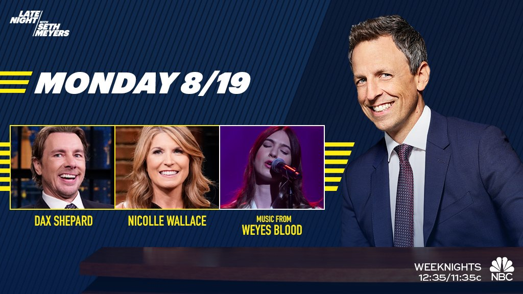 TONIGHT: @daxshepard, @NicolleDWallace and musical from @WeyesBlood!