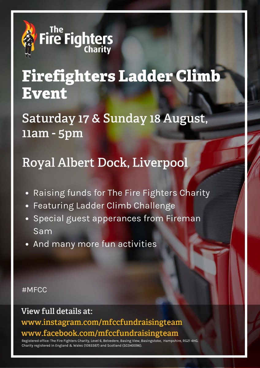 Day two of our ladder climb event down at the Albert dock, please come along and say hello #Mfcc #firefightercharity #ladderclimb @theAlbertDock @firefighters999