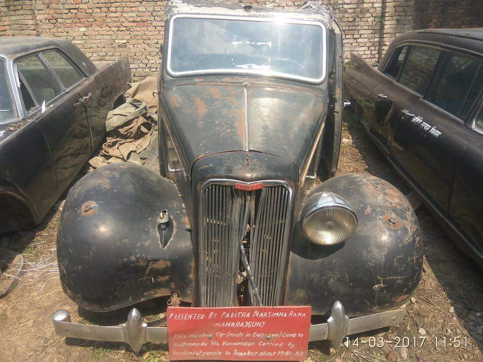 Historic car carried by hundreds of People via Vhimphedy to Thankot about 1940AD