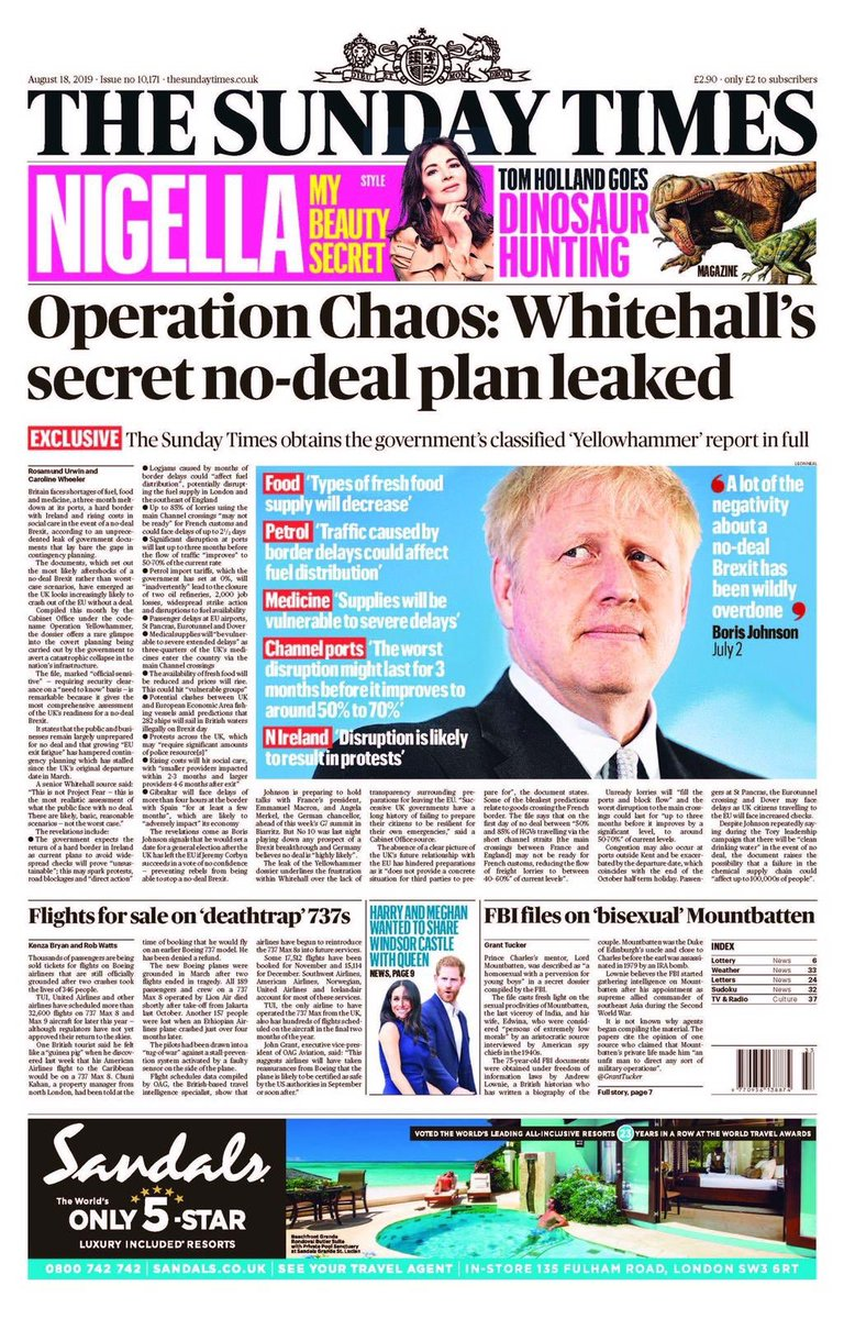 Medicines will run out. Tap water will be dangerous to drink. Therell be chaos at the border. Thats the official Whitehall No Deal Brexit warning we can take onto every doorstep in Britain, asking did you vote for this?