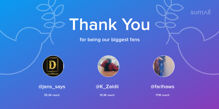 Our biggest fans this week: jans_says, K_Zaidii, farihaws. Thank you! via sumall.com/thankyou?utm_s…