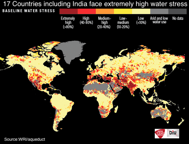 The World Resources Institute (WRI) had recently come out with its global water risk atlas, where India is placed among 17 extremely high water-stressed countries.Read more https://bit.ly/2p05smz  @IndiaToday @WorldResources https://twitter.com/DipuJourno/status/1162938524288659456 …