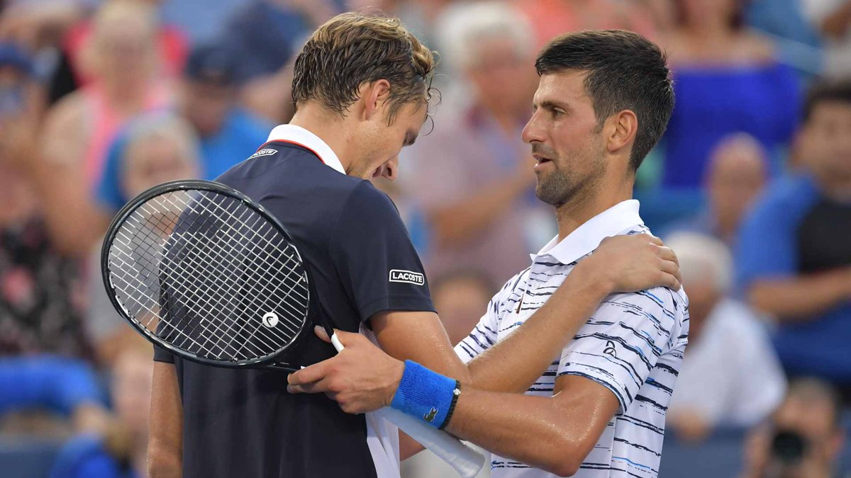 ".@DjokerNole: ""When someone serves a 128 miles-per-hour second serve and doesn't make too many double faults and goes for every shot, you just have to put your hat down and congratulate him.""  #CincyTennis (ATP) <br>http://pic.twitter.com/0QP0eJuvNH"