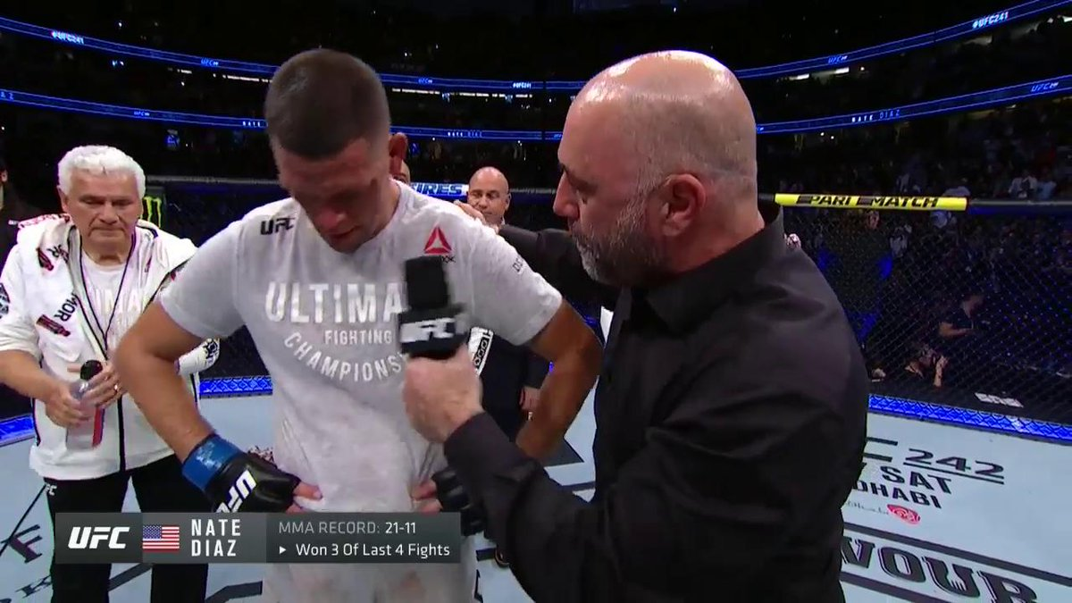 """I want to defend my title against Jorge. He's a gangster, but he ain't no West Coast gangster.""  @NateDiaz209, welcome back! #UFC241"