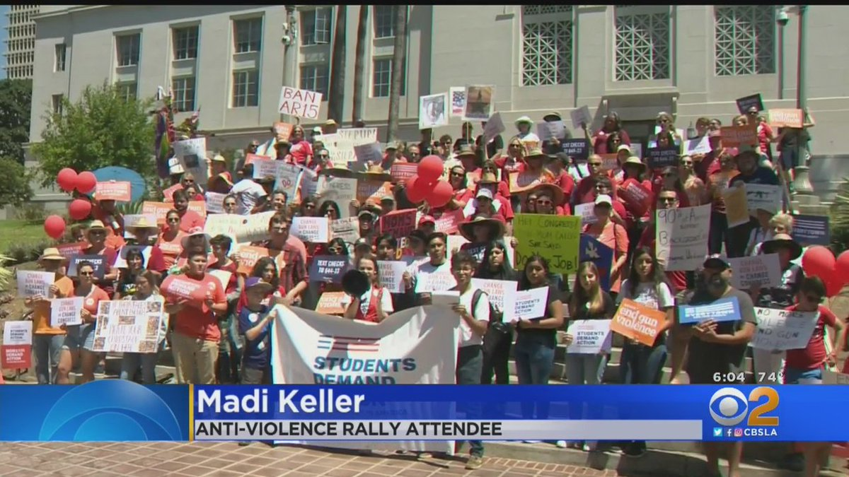 Anti-violence activists gathered in DTLA today to demand action from lawmakers following this months mass shootings. 40 miles away, in Costa Mesa, gun show attendees shared their views: cbsloc.al/30dpCgH