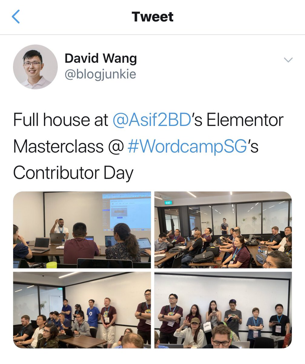 test Twitter Media - Some snaps from my yesterday's @elemntor #Masterclass at @WordCampSG 2019! I was blown away with diverse people's interest on my session! Thanks to @blogjunkie, @Nizam5428 and Eva for the shots! #Elementor #WCSG19 #WCSG #WordCampSG #WordCamp https://t.co/jwm73LujiZ