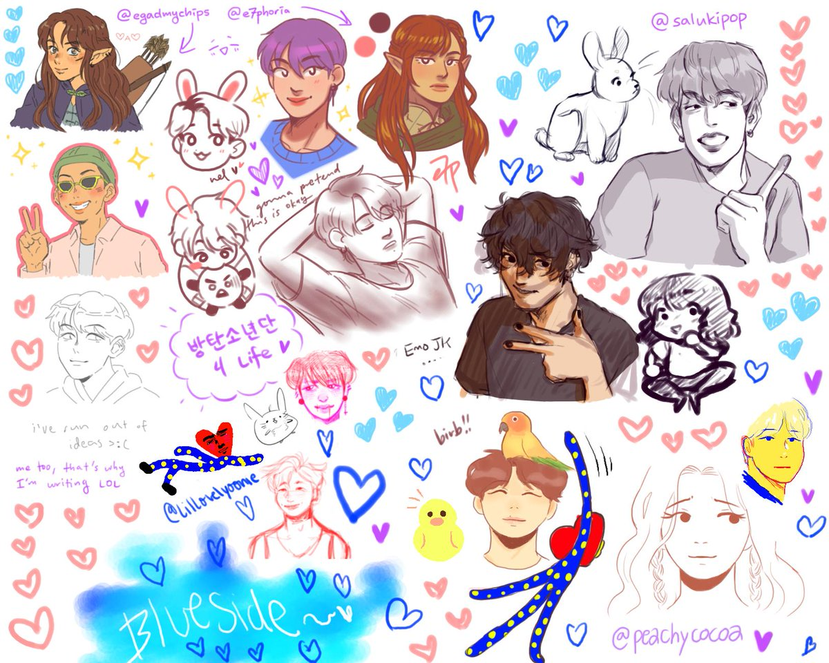drawpile again!!!! its been a while since i did one, but it was really fun as always!!! thank you @e7phoria @LilLovelyyoonie @salukipop @peachycocoa for your lovely work <3