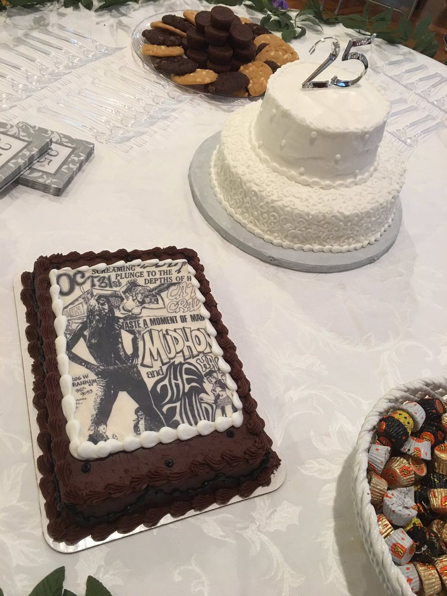 For the Groom's Cake at Robby and Corine's 25th anniversary celebration, their daughter Haley used a flyer from the Mudhoney / The Fluid show they attended on their first date. Doesn't get much cooler than that.