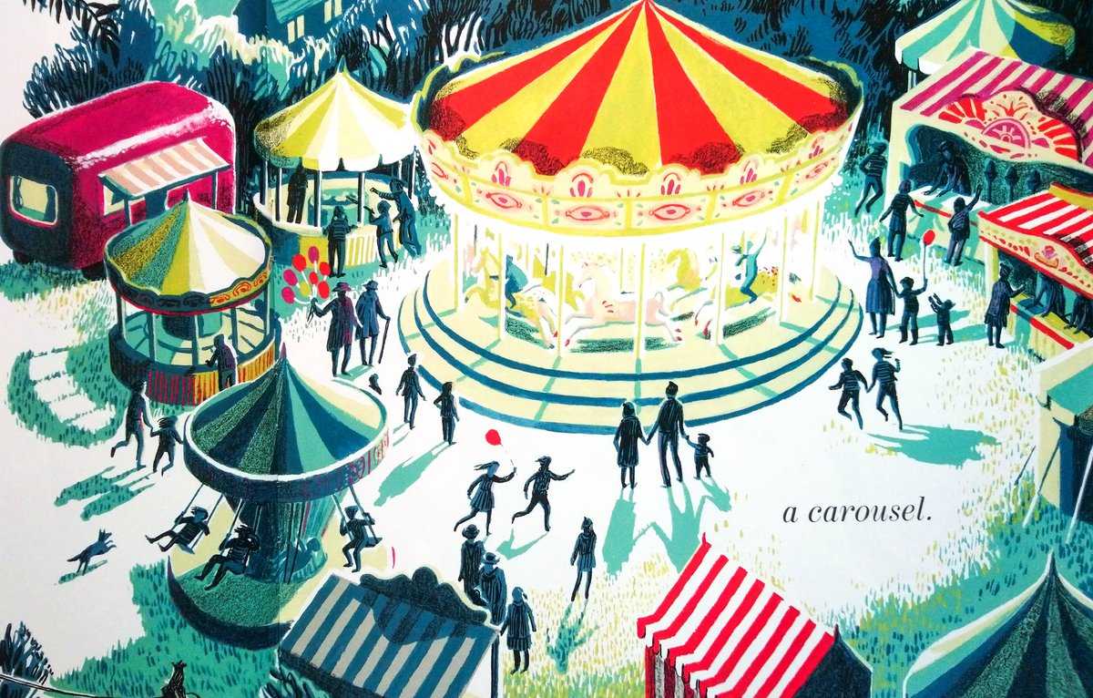 """#BookIllustrationOfTheDay is by @pam_smy for her brand new book, """"Merrylegs"""" (2019) about a pony with a dream... Look at this gorgeous illustration with wonderful heightened light & shadow, a careful palette & fabulous composition. Who could resist a retro fairground like that?<br>http://pic.twitter.com/exBJSO6VGs"""