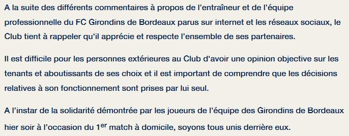 Communiqué Bordeaux