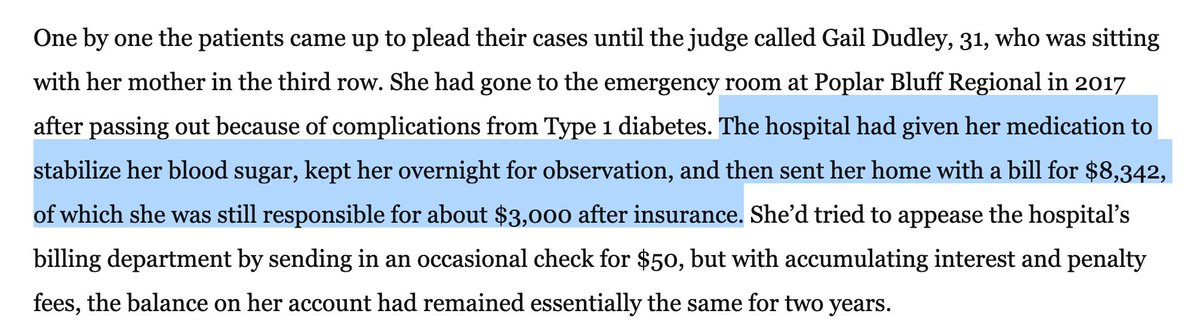 Stories like this must seem surreal to folks living in … well, just about anywhere there's a rational single-payer health care system. One night in the hospital: $8,342 of which the patient is still responsible for $3,000 AFTER INSURANCE. Good lord. washingtonpost.com/national/the-f…