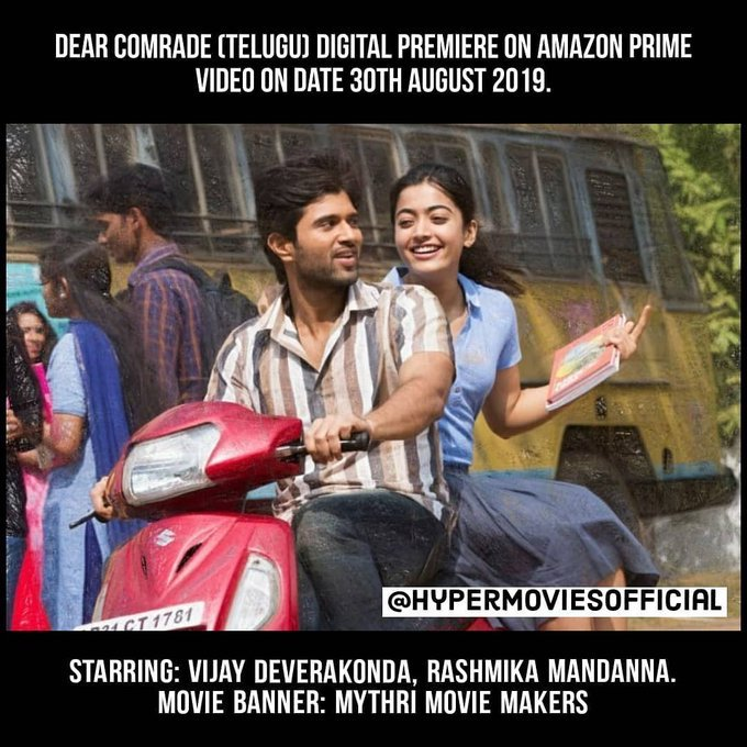 Don't know if this is true, but Queen @iamRashmika's #DearComrade will begin streaming on Amazon Prime from August 30th? Let's await for the 30th to see if Prime Video has it. #RashmikaMandanna<br>http://pic.twitter.com/ZvCFGtO8Yp