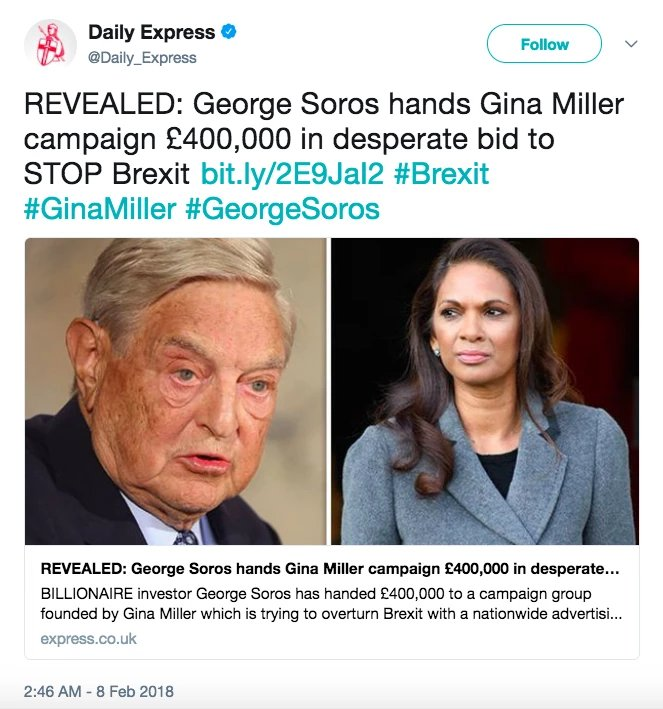 Gina we have to respect the vote which people voted to leave the EU. George Soros paid heavily for Gina to prevent Brexit happening. #ridge #marr