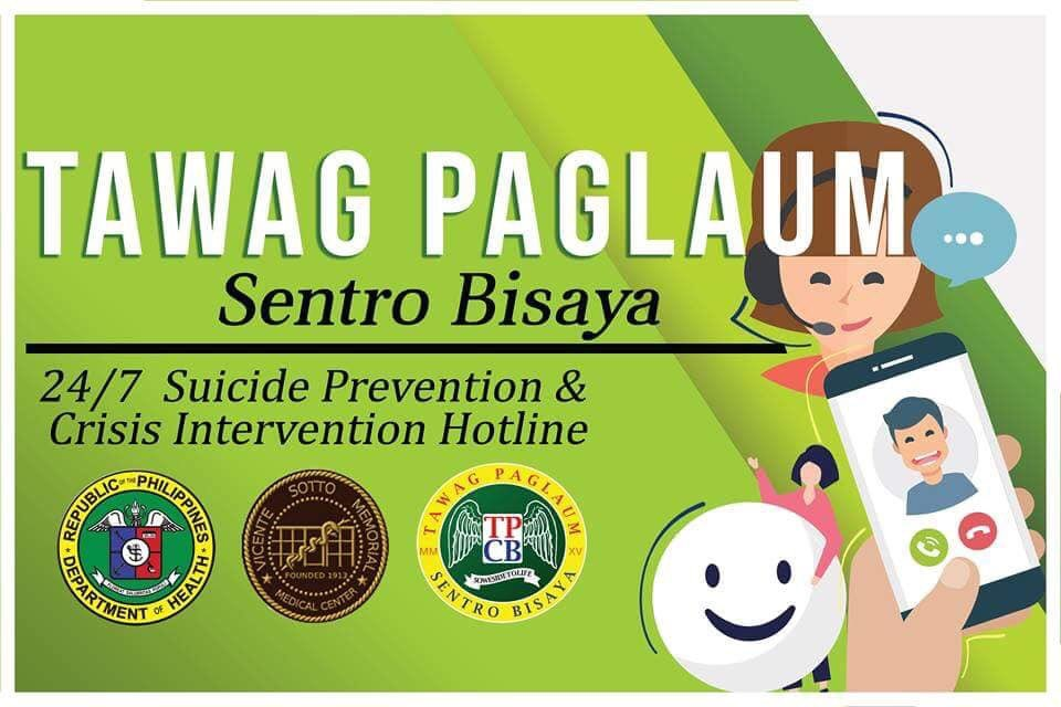 Tawag Paglaum Centro Bisaya is a 24/7 call-based hotline for suicide prevention and emotional crisis intervention established in Cebu.   Anyone in Central Visayas experiencing a mental disorder relapse or suicidal thoughts may reach the hotline at 0939-936-5433 or 0927-654-1629. <br>http://pic.twitter.com/NjXNSY6XPQ