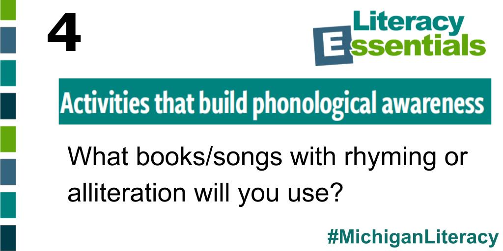 Q4: As you consider activities that build phonological awareness, what books and songs with rhyming or alliteration might you use?  #michiganliteracy<br>http://pic.twitter.com/OydTdx0RyI