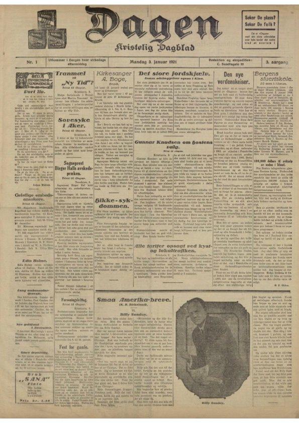 Tirsdag fyller @AvisenDagen 100 år. Her er den første utgaven i avisens tredje årgang, datert 3. januar 1921. #mediablikkarkivet