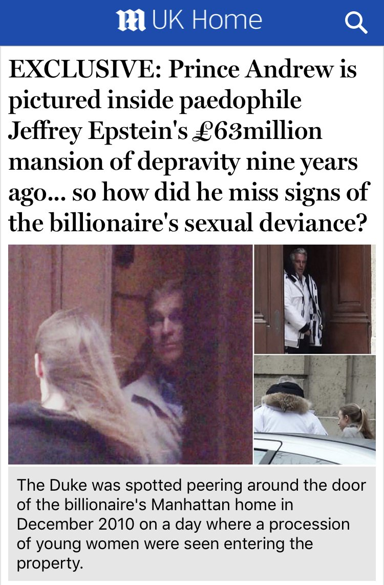 """""""HOW DID HE MISS THE SIGNS?"""": We give Prince Andrew a free pass for being photographed at the door of a billionaire paedophile sex traffickers' house because, despite our claims of journalistic integrity, we're just establishment lickspittles scared of upsetting the status quo."""
