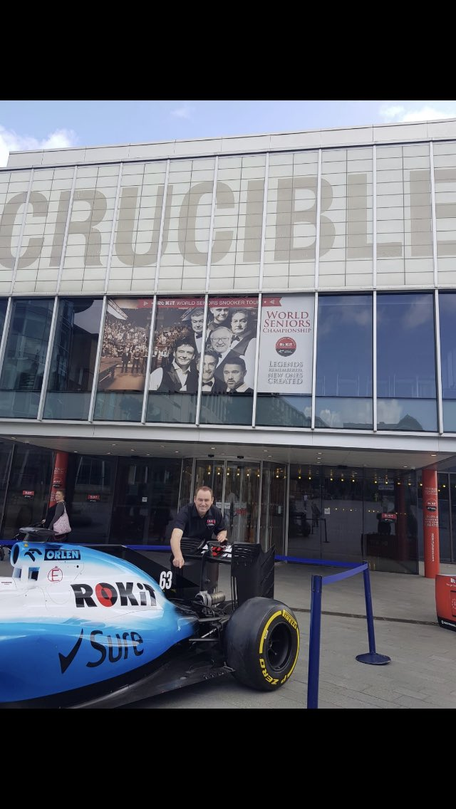 Dear @GeorgeRussell63 @WilliamsRacing borrowed the wheels for a quick game of snooker @crucibletheatre in sheffield for @WorldSeniors I'll have it back for spa
