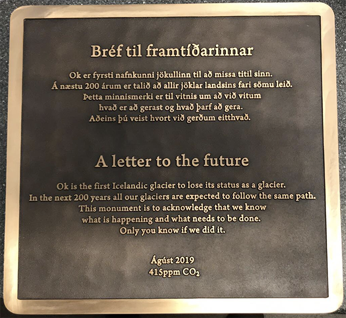 """Scientists bid farewell to Okjökull, the first Icelandic glacier lost to climate change, with a monument that features """"A letter to the future"""" https://cnn.it/2z9pzXv"""