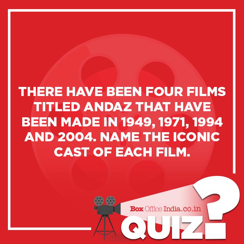 Answer 1: #Andaz (1949) starred #DilipKumar, #RajKapoor and #Nargis #Andaz (1971) starred #ShammiKapoor, #HemaMalini and #RajeshKhanna #Andaz (1994) starred #AnilKapoor, #JuhiChawla and #KarismaKapoor<br>http://pic.twitter.com/jPpQuu7WDp