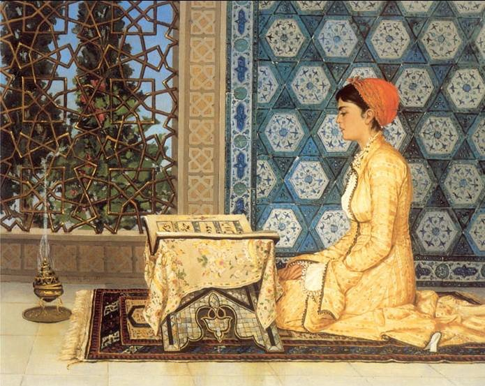 Lubna of Cordoba, 10th-century Muslim mathematician was well-versed in the exact sciences. Her vast acquaintance with general literature 📚 obtained her the important employment of private secretary to the Umayyad Caliph of Islamic Spain, Al-Hakam II. 🎨Osman Hamdi Bey.
