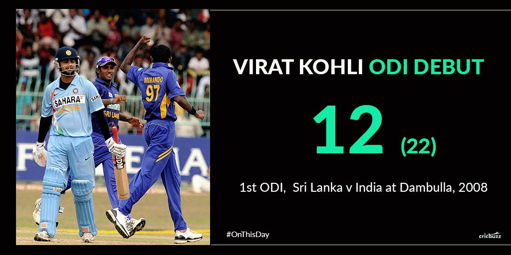 #OnThisDay, in 2008, the willowy maestro, #ViratKohli began his journey in international cricket, against Sri Lanka. He cracked a couple of eye-catching shots through covers in his brief stay. r.cricbuzz.com/IND-SL-Kohli