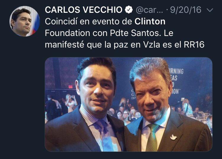 Todo normal, lo usual, Carlos Vecchio con Juan Manuel Santos en un evento de la Clinton Foundation, fundación creada por Bill y Hillary, con la ayuda de Jeffrey Epstein, para ser usada como cortina de humo para sus crímenes y depravaciones. Entre sociopatas se entienden...