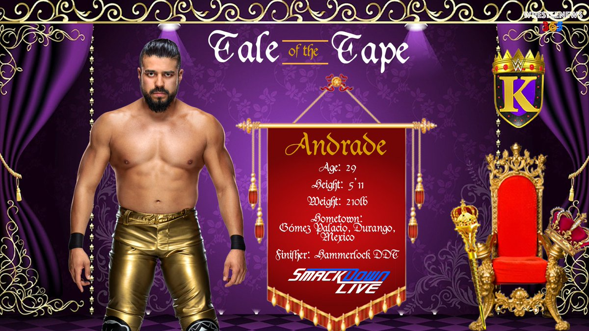 This Monday marks the return of The King of the Ring tournament.  Throughout the week we will be taking a closer look at all the participants from Raw and Smackdown.  Next, Andrade.  @AndradeCienWWE @WWE  #WWE #Raw #SDLive #KOTR #KingOfTheRing #Andrade #ZelinaVega