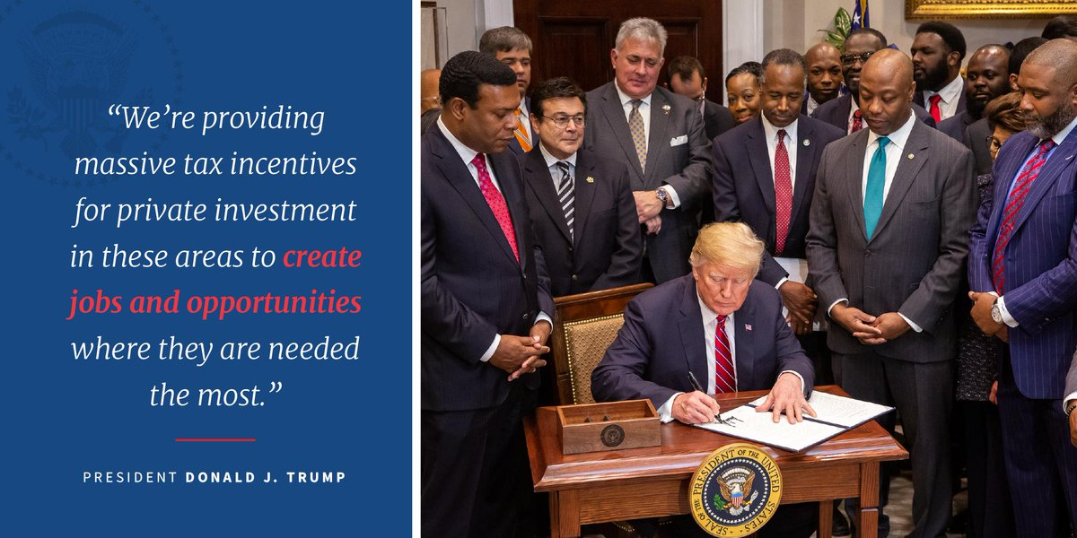 Opportunity Zone incentives—part of President @realDonaldTrump's historic tax cut legislation—are expected to spur $100 billion in long-term private capital investment in 8,764 underserved American communities. https://t.co/Bv2E6N2mWR
