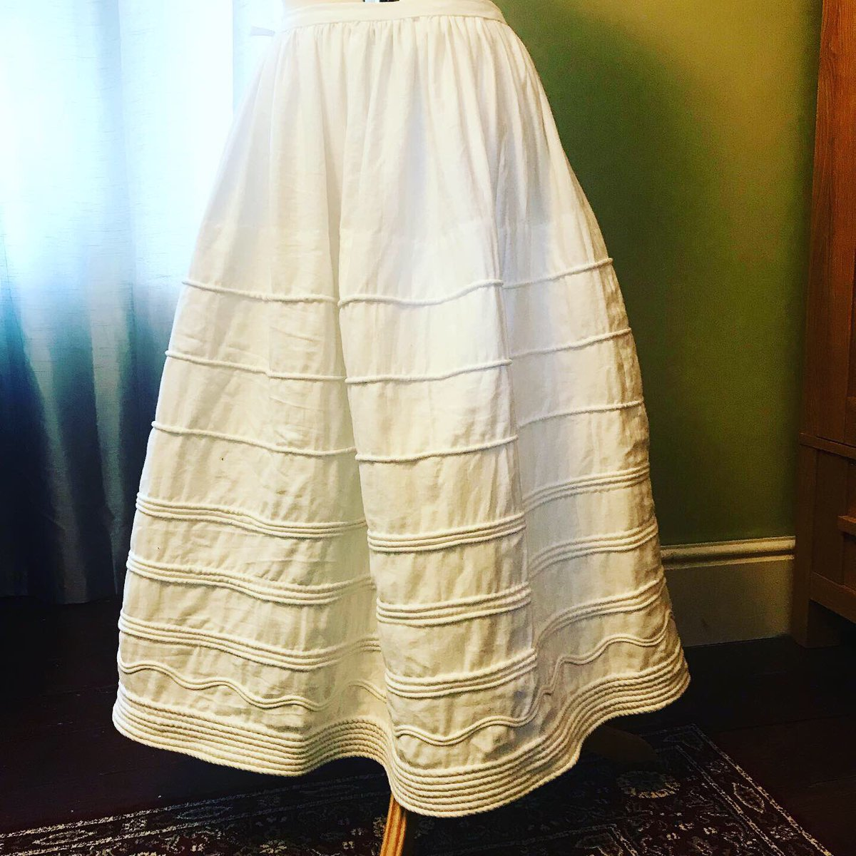 Hooray! Today's success: completed my new 1830s corded petticoat. <br>http://pic.twitter.com/HSdQvIU90Y