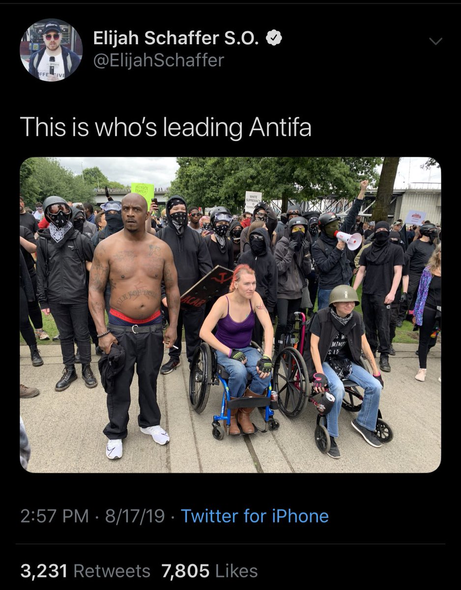 This dude thinks he's insulting folks who rally around antifa. But all I can say if f*ck ya. Disabled people are always the ones helping lead for equality (even when you all don't recognize us) cuz we are some of the most vulnerable to being hurt by fascism. ✊🏼 #CripTheVote