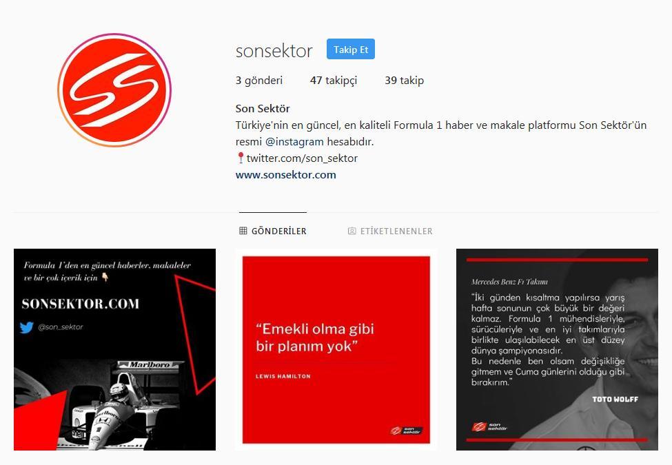 Bu arada @son_sektor'ün Instagram hesabını takip etmenizi öneririm, güzel şeyler geliyor, gelecek: https://www.instagram.com/sonsektor/ #F1