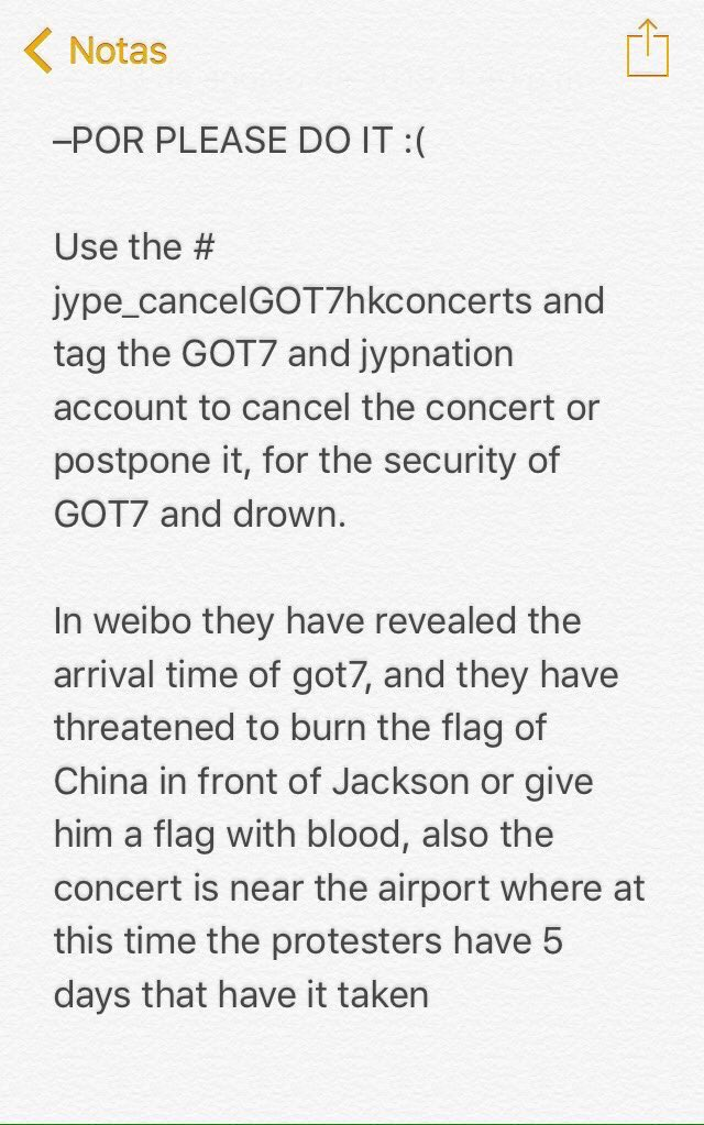 #JYPE_CancelGOT7HKConcerts please @jypnation cancel Got7 in HongKong for their own safety!