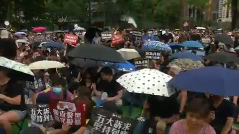 Tens of thousands of protesters attend a peaceful anti-government rally in Hong Kong - in the 11th week of what have often been violent demonstrations. More here: reut.rs/2z4ZfO9