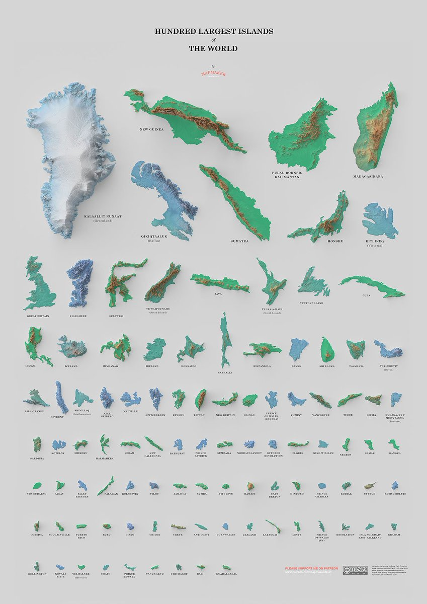 In this cool visual by MapMakerDavid, we see a poster of the 100 largest islands in the world. He used QGIS/Blender with calculations made using the Equal Earth Projection digital elevation model from NASA Island shapes. Find more and support on Patreon ow.ly/60MW50vB0HL