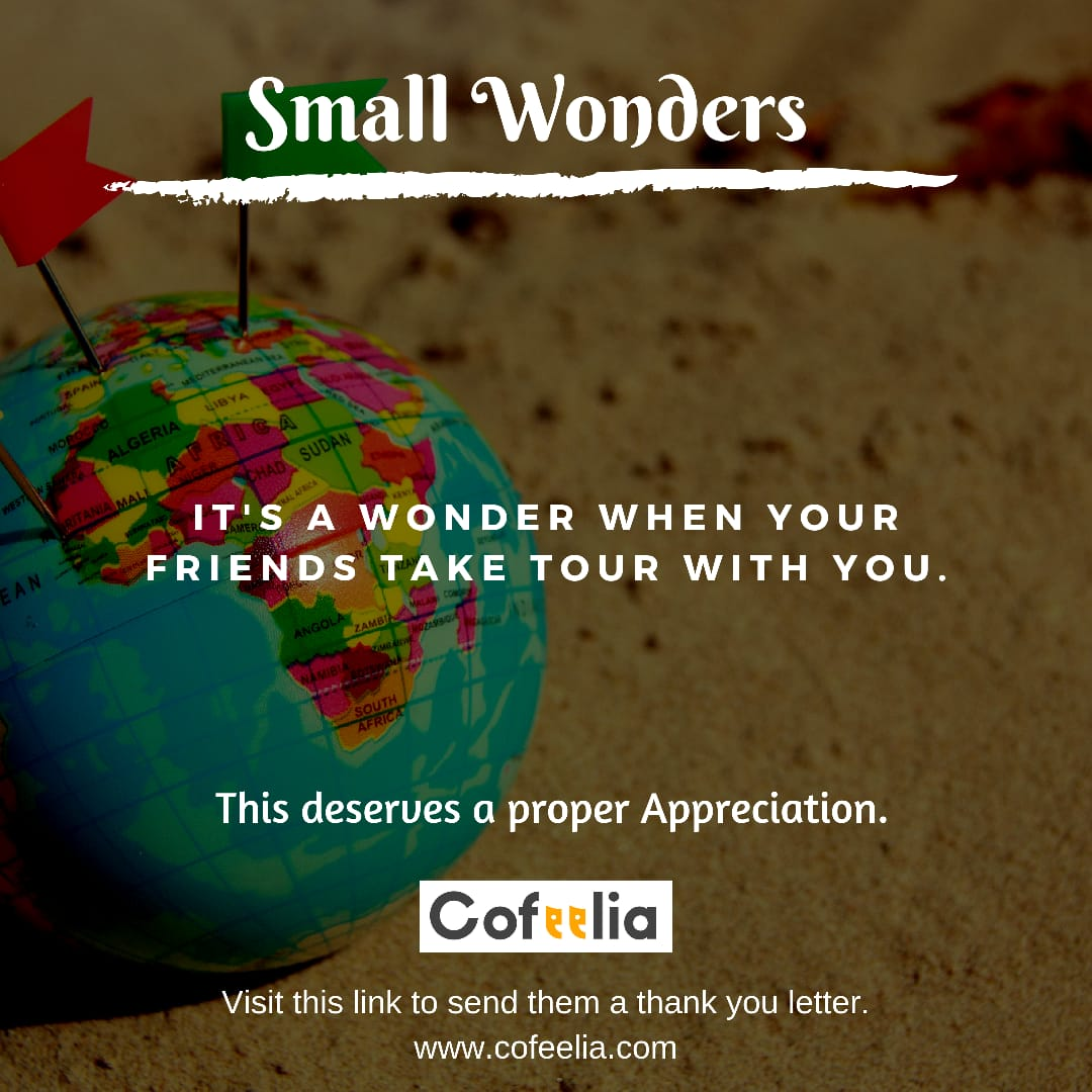 It's wonderful when your friends take a tour with you. Salute your loved ones by sending them a salute letters. Visit now:-  http://www. cofeelia.com     #gratitudequotes  #gratitude  #sundaymotivation  #sundaythoughts  #sundayquotes<br>http://pic.twitter.com/y8oXCJ1pKI