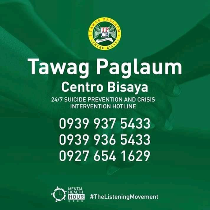 In line with the recent tragedy that happened   Hope the people of Cebu know that there's a  a 24/7 suicide prevention and crisis intervention hotline called TAWAG PAGLAUM - CENTRO BISAYA. The hotline provides immediate help to those who need it.  #TheListeningMovement<br>http://pic.twitter.com/HHJ7I6rO77
