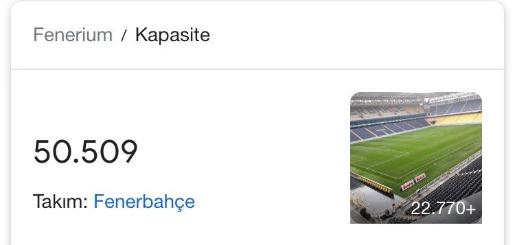 Not; Fenerbahçe stadı 50.509 bin kapasitedir. 1.491 kişi dışarda olacak, deplasman tribünü ise Fenerbahçe'yi destekleyecektir. Yani arkadaş haklı, 52 bin sayısına böylece ulaşılmış olacaktır.