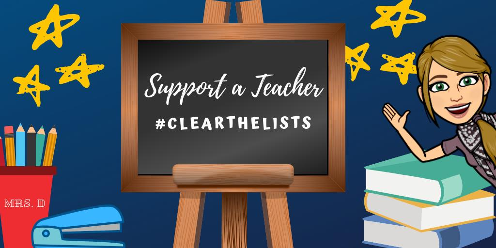 Week 2 starts tomorrow, but today I will be lesson planning and helping others to #clearthelists .  Drop you list below, RT  and I will RT yours.  @support_a_teach #clearthelistseveryday   https://www. amazon.com/hz/wishlist/ls /1BY0XEVGP1S4X?ref_=wl_share   … <br>http://pic.twitter.com/JIPKa8uxcg