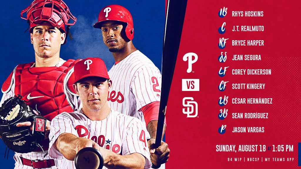 Sunday afternoon series finale on deck. Heres our lineup. #RingTheBell 📺: @NBCSPhilly 📻: @SportsRadioWIP 💻📱: atmlb.com/2NaFU6i or MLB.tv