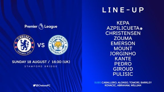Love this lineup! Looks like a 433, midfield has a nice balance with Kante and mount supporting Jorginho.. Giroud is starting but definitley expect Tammy to come on to score and boost his confidence.. Michy no where to been yet again but let's get this win!! 3 points!! #CHELEI