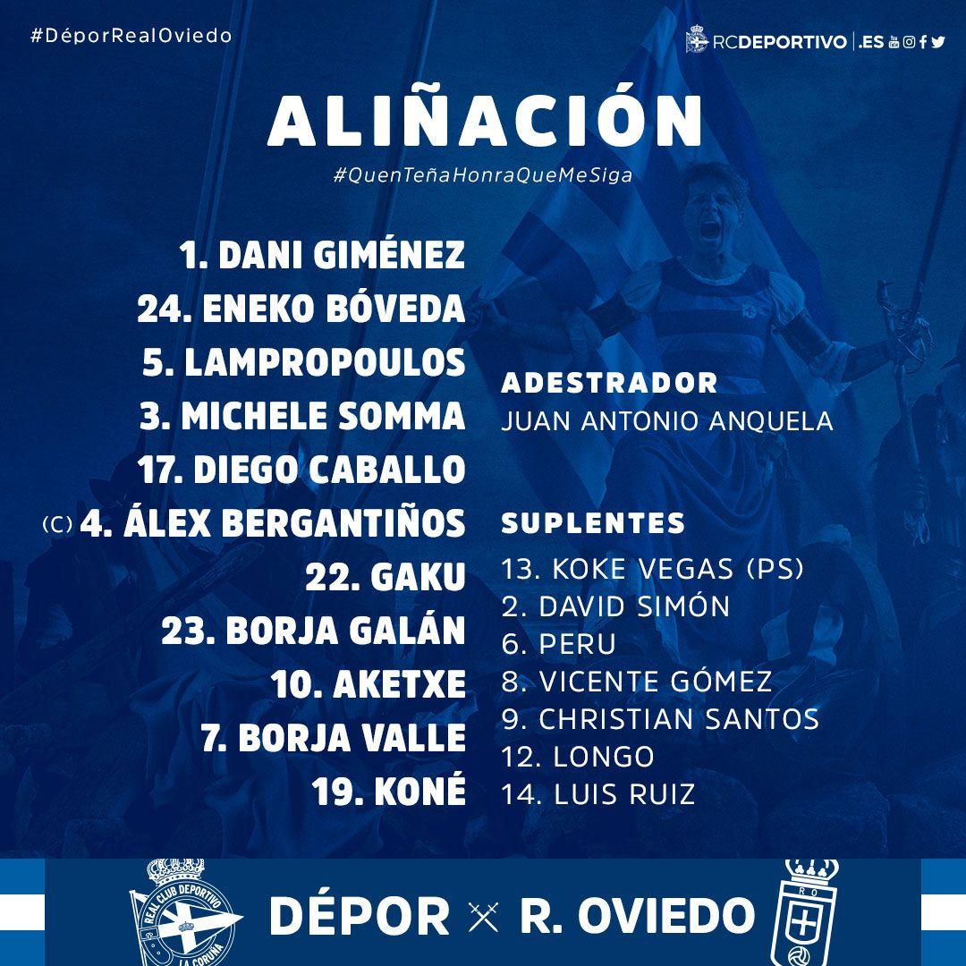 Alineación del Dépor frente al Real Oviedo (Foto: RCD).